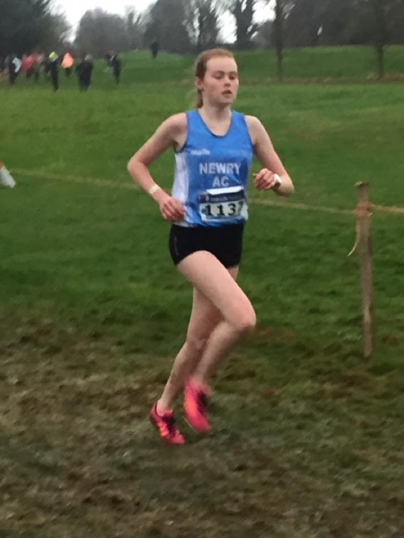 Meadow McCauley in the U17s All Ireland XC Championships in Navan