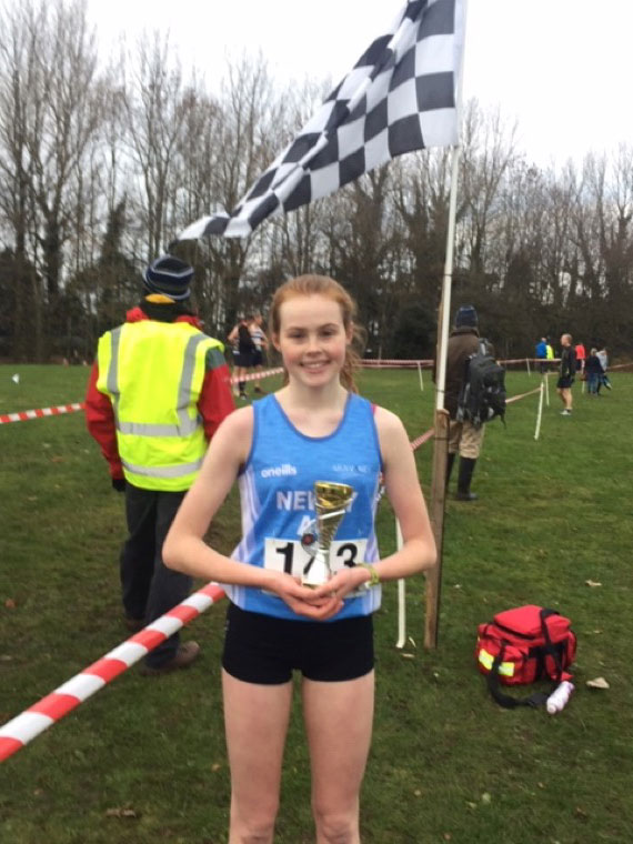Meadow McCauley lifting U17s 1st Place at Malcolm Cup XC on Saturday