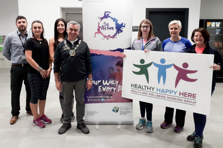 Newry, Mourne and Down District Council Chairman, Councillor Mark Murnin launches the 'Step into 2020' programme at Newry Leisure Centre.