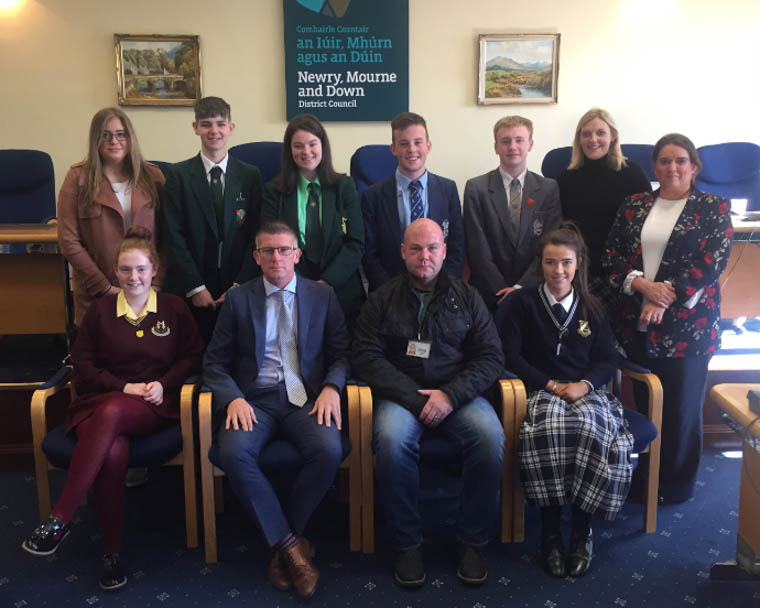 Young people from local schools marking World Mental Health Day at a function in Newry, Mourne and Down District Council offices in Newry.