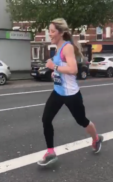 Ciara Coffey still smiling during the Belfast Marathon