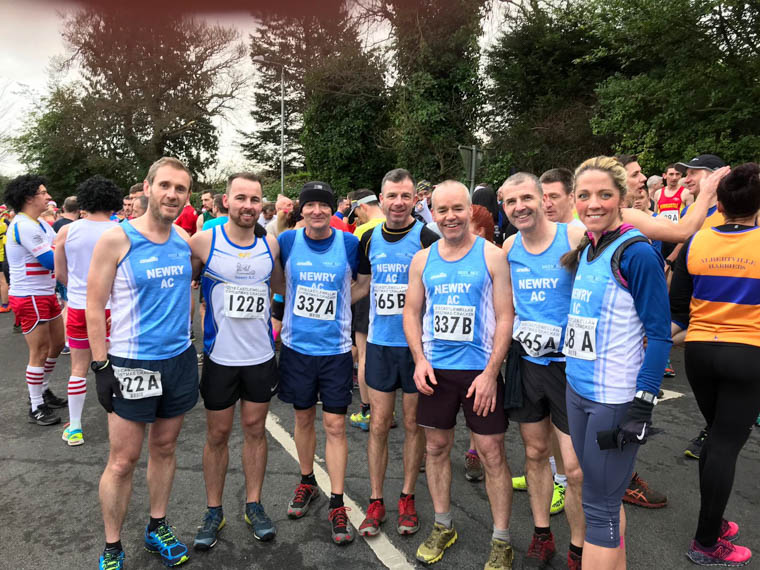 Newry AC athletes ready for action at the Castlewellan Christmas Cracker