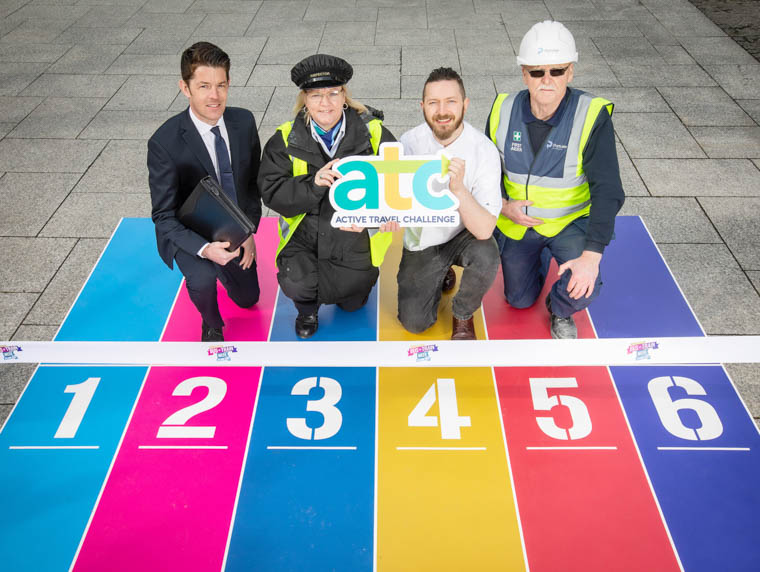 Under starters orders: David Tumilty, Health & Social Wellbeing Improvement Manager, PHA, Cathy McGeough, Translink Bus Inspector, Calvin Holohan, Owner, Holohan's at the Barge and Peter Byrne, Portview Fit-out pictured at the launch of the Active Travel Challenge.