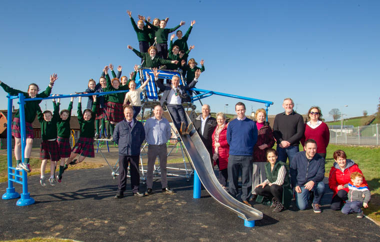 Newry, Mourne and Down District Council Council Chairman Councillor Mark Murnin opens Cullyhanna play park with the pupils from St Patricks Primary School, Cullyhanna, local councillors and community representatives.