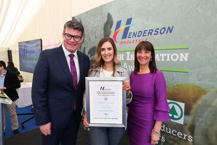 Pictured (l-r) is Neal Kelly (Henderson Fresh Foods Director) Orla Morris (Around Noon) and Fresh Innovation Awards host, Jo Scott.