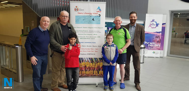 Pictured with swimmers Hussiff and Patrick are: Maurice Rocks (NPLQ Life Guard), Dennis Smith (STA swimming teacher), Brendan Curran (First Aid trainer & Swimming teacher) and Brendan Fearon (Shared Areas).