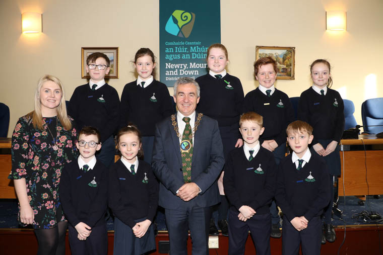 Newry, Mourne and Down District Council Chairman, Councillor Mark Murnin held a reception to welcome Ballyholland Primary School Council members along with Niamh Walsh, School Council Co-ordinator.