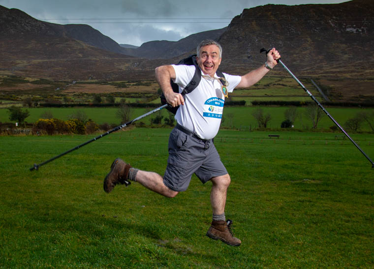 Council Chairman Cllr Mark Murnin puts a spring to his step in preparation for his three day walk around the district. Photograph: NewRayPics.com