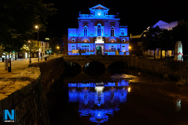 Newry Town Hall will be lit up Blue this evening to mark World Parkinson's Day. Photograph: Columba O'Hare/ Newry.ie