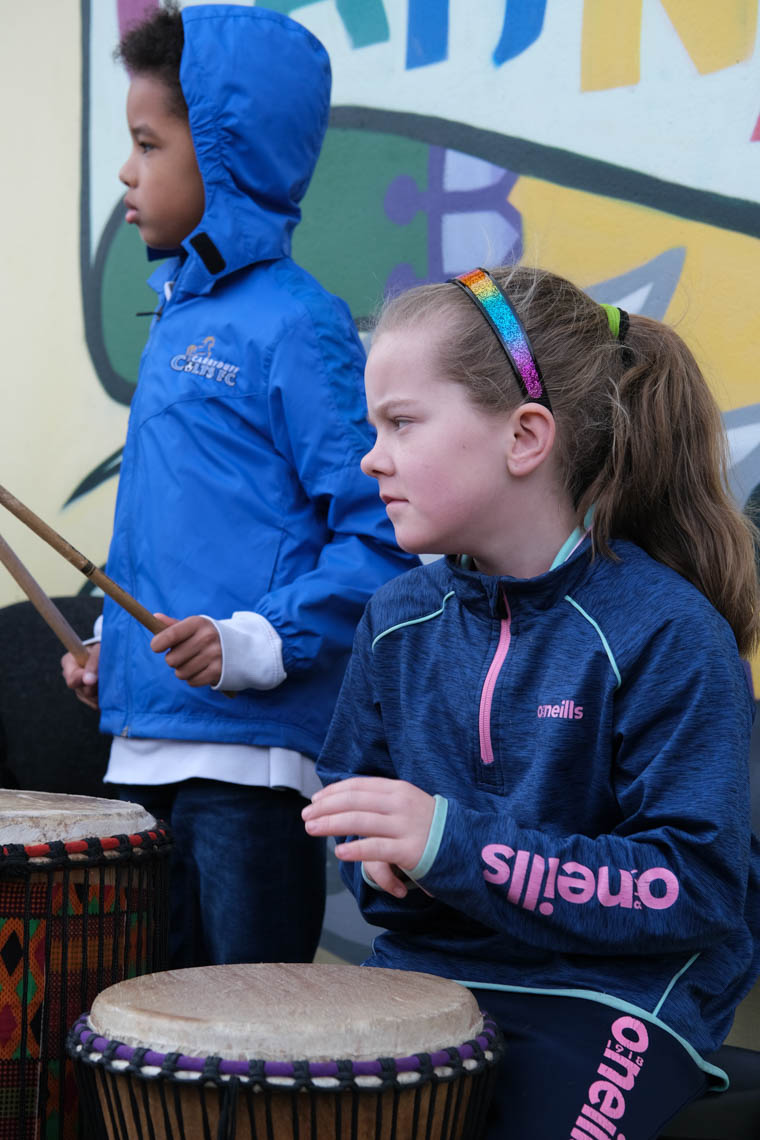Playing the African Drums.
