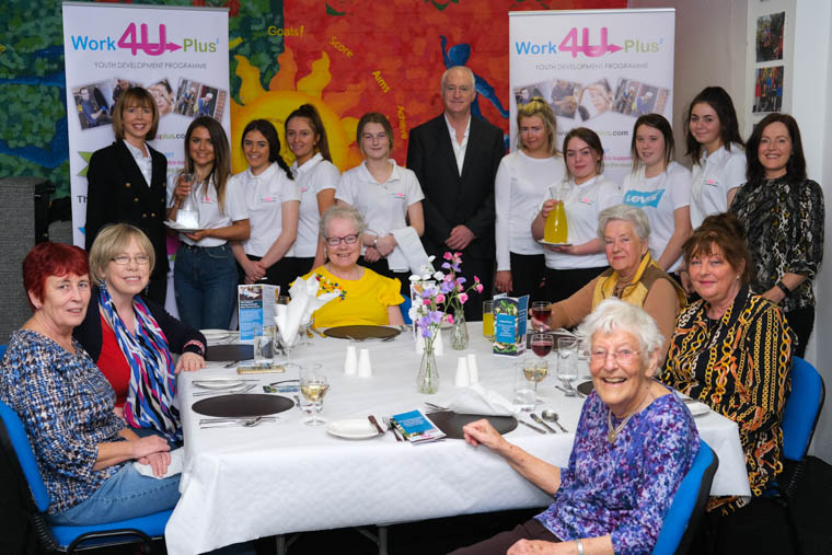 Students, organisers and guests pictured at the recent Work4Uplus Intergenerational Silver Service Event at Newry and Mourne Enterprise Agency at WIN Business Park, Newry.