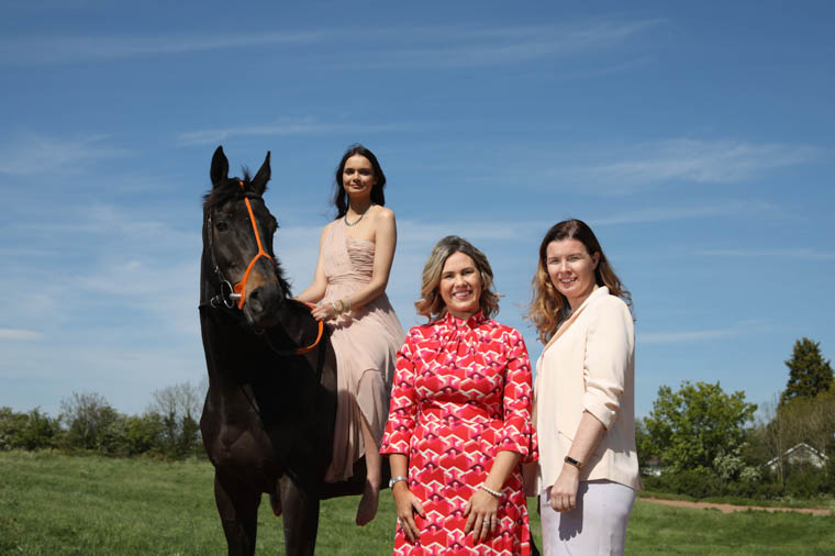 Pictured launching the competition is model Alice Ashfield on the Colin McBratney trained Triolet, owned by the Monkey Formula Syndicate, alongside Gemma Murphy, Partner at Jack Murphy Jewellers and Claire Rutherford, Sales & Marketing Director at Down Royal Racecourse.