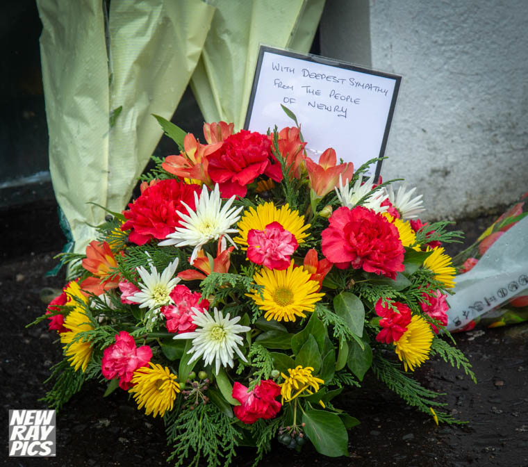 A wreath left at the scene of the murders by Council Chairman, Cllr Mark Murnin. Photograph: NewRayPics.com