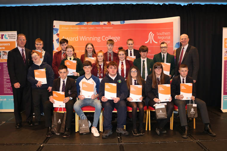SPP Newry Area Best in Subject winners pictured with David Vint, SRC Assistant Director of Community, Schools' Partnership and External Funding and Brian Doran SRC Chief Executive.