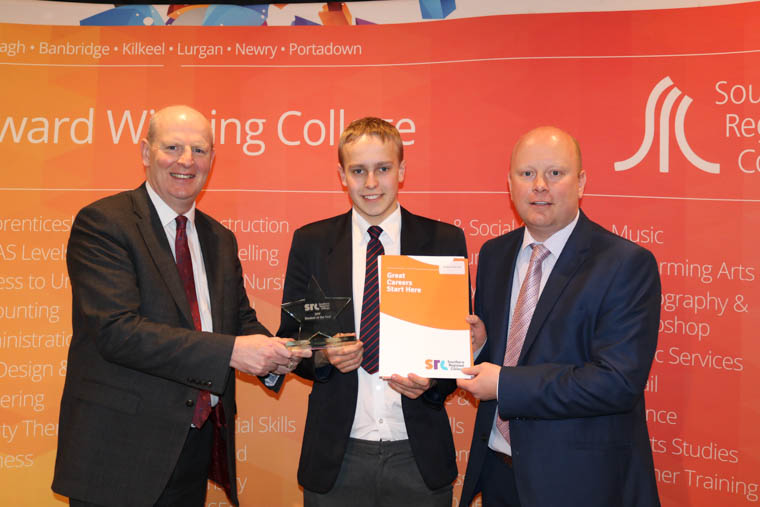 SPP Student of the Year Gareth Knight from Newtownhamilton High School, pictured with Brian Doran, SRC Chief Executive and Andrew Cousins Teacher at Newtownhamilton High School.