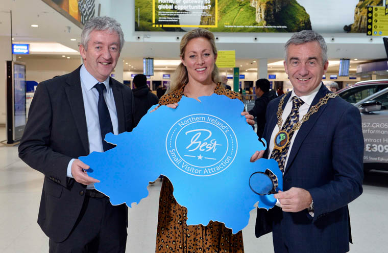 John McGrillen, CEO Tourism NI; Katy Best, Commercial and Marketing Director at Belfast City Airport;  and former NEwry, Mourne and Down Chairman Cllr Mark Murnin