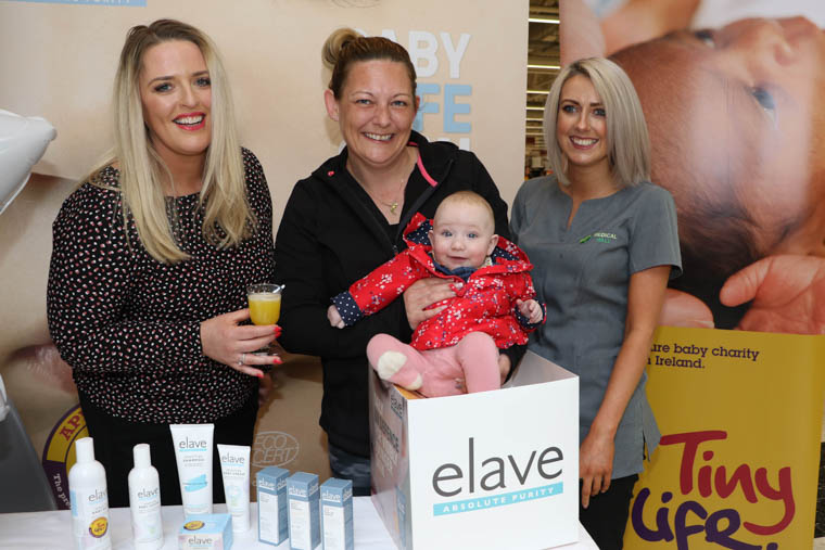 Corrina McCaughey (centre) and her baby daughter Zoe enjoy the Sensitive Skincare Showcase, hosted at the Medical Hall Pharmacy, Quays Centre, on Saturday. Also pictured at the event, organised by NI premature baby charity TinyLife and Elave Skincare, are Medical Hall manager Aoife Downey (right) and Karen Johnston of Elave Skincare.