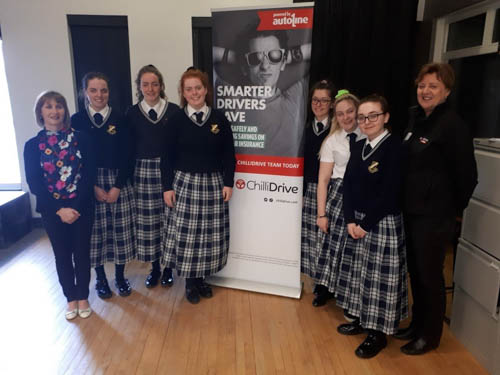 ear 14 students from Our Lady's Grammar School are pictured with Tracey Doherty, former Family Liaison Officer within the PSNI and Mrs. Smyth, Head of Year.