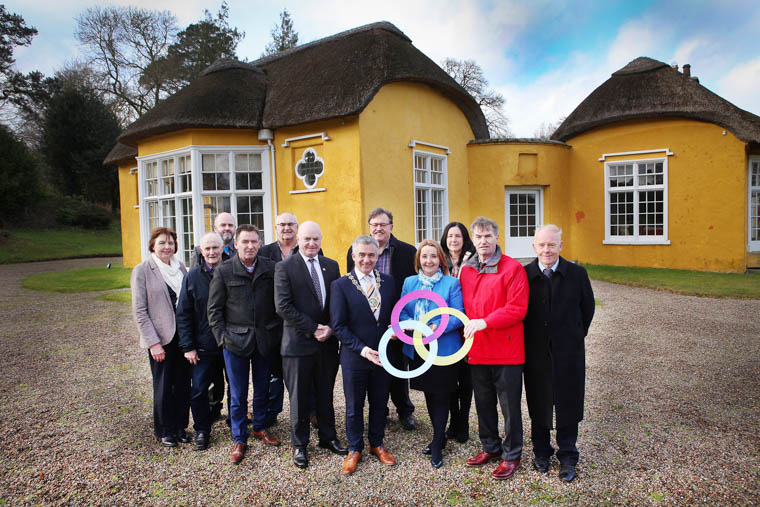 Welcoming funding for regenerating Derrymore Estate and Moore Hall Estate at Derrymore House. Front left to right:  Peter Hynes, Chief Executive Officer, Mayo County Council; Councillor Mark Murnin, Chairman, NMDDC; Councillor Roisin Mulgrew, Chairperson of Mourne, Gullion & Lecale LAG; Councillor Al McDonnell, Chairman of Mayo LAG. Also present are members of the Friends of Derrymore, Co Armagh and members of Carnacon Community Association, Co Mayo.