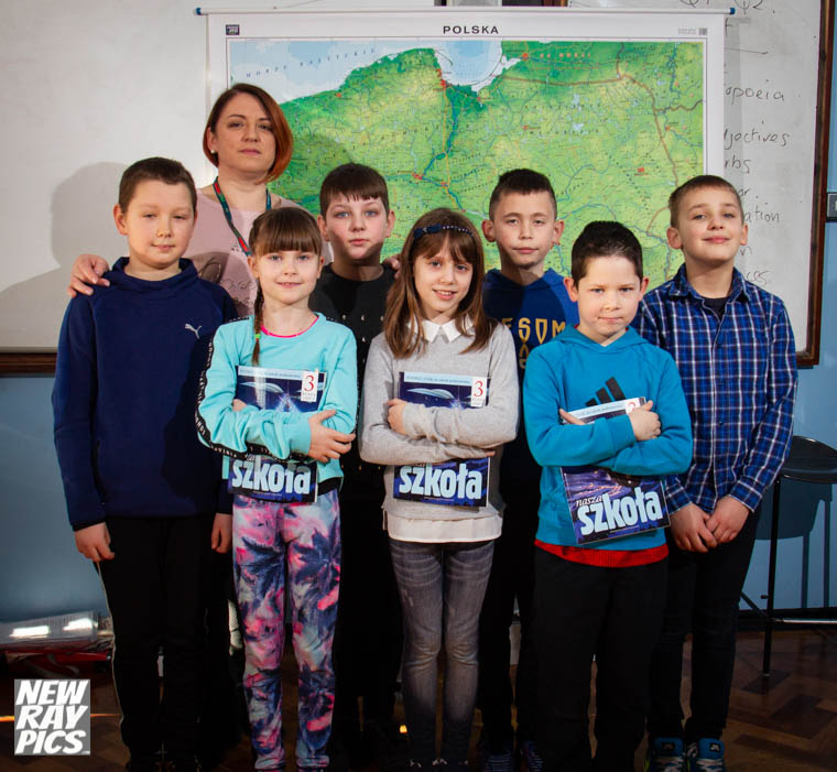 Teacher  Jolanta Czarnocka with her students at the Polish Supplementary School in Newry. Photograph: Newraypics.com