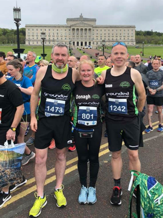 Some of the Slieve Gullion Runners team at Belfast Marathon.