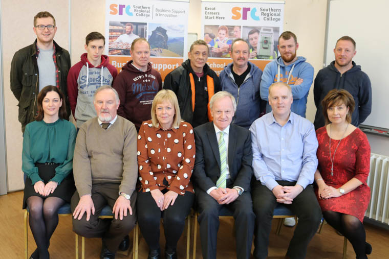 Included are: Back Row – Welding Academy candidates Front Row - Tracy Rice (Business Support Manager, SRC), Bernard McElmeel (Lecturer, SRC), Jeanette Cherry (Annard Ltd), Trevor Scott (Walter Watson), Lindsay Bronte (Head of School for Construction and Engineering, SRC) and Denise Cornett (Business Development Executive, SRC)