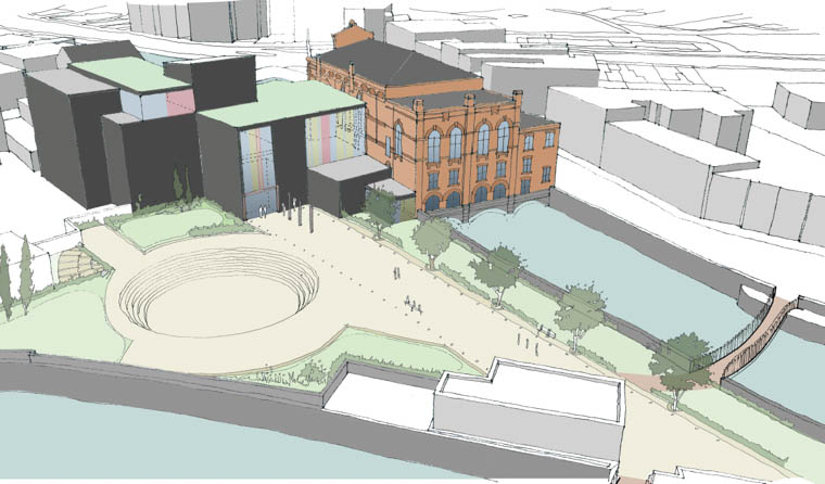 What the new Theatre/ Conference facility could look like from Merchants Quay.