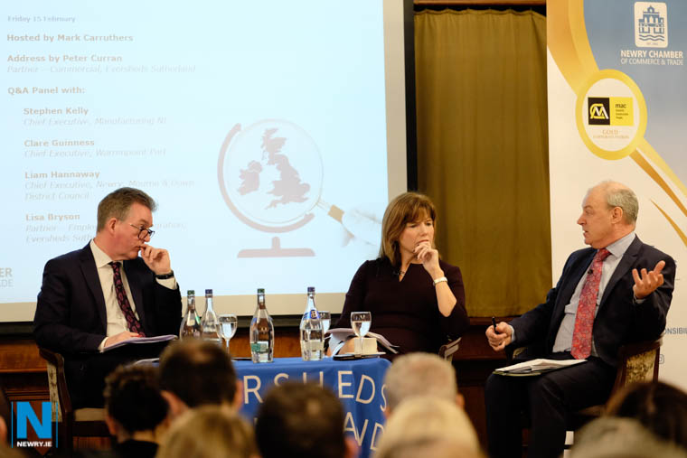 Liam Hannaway, right, CEO, Newry, Mourne and Down District Council speaking at the Brexit Briefing along with Mark Carruthers and Clare Guinness, Chief Executive, Warrenpoint Port. Photograph: Columba O'Hare/ Newry.ie