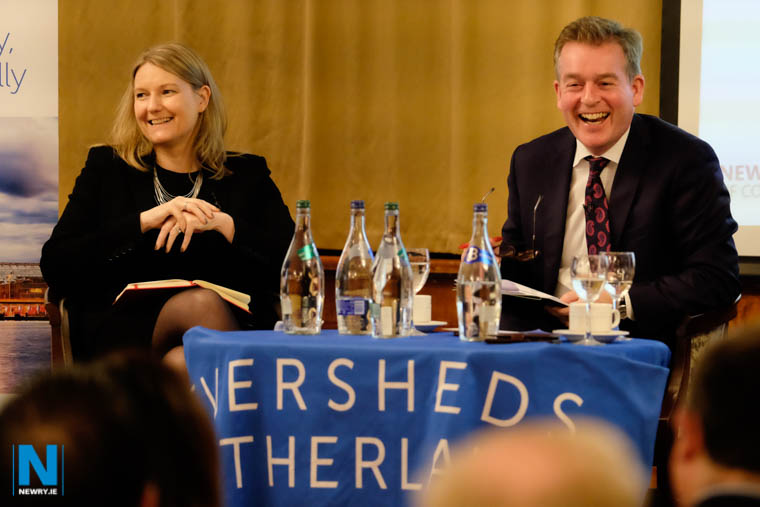 Lisa Bryson, Employment & Immigration Partner, Eversheds Sutherland and Mark Carruthers enjoy a rare lighter moment at the Brexit event in the Canal Court. Photograph: Columba O'Hare/ Newry.ie
