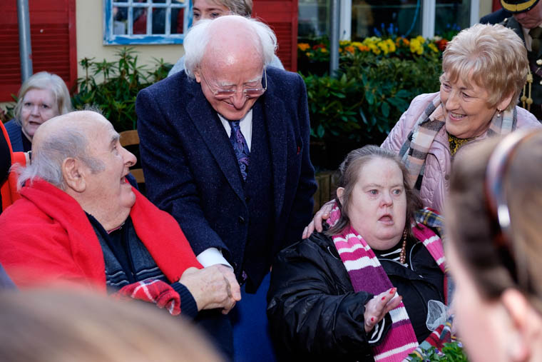 President Michael D. Higgins and his wife Sabina chatting with guests during their visit to An Tobar in Silverbridge. Photograph: Columba O'Hare/ Newry.ie