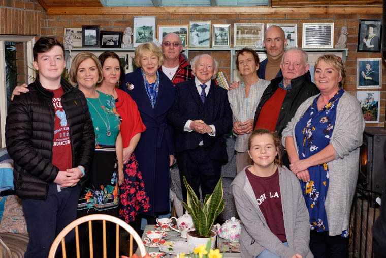 Members of the Finnegan family pictured with President Michael D. Higgins and his wife Sabina during their visit to An Tobar in Silverbridge yesterday. Photograph: Columba O'Hare/ Newry.ie