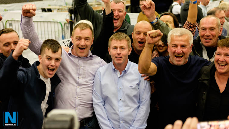 Gavin Malone and supporters celebrate his election success at Newry Sports Centre. Photograph: Columba O'Hare/ Newry.ie