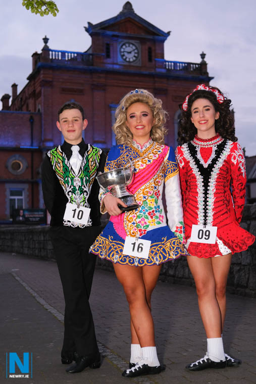 The winners in the U14 Irish Dancing (Confined) class at Newry Musical Feis. From left are Conor O'Rourke, 3rd; Laura Kavanagh, 1st and Ciara Walker, 2nd. Photograph: Columba O'Hare/ Newry.ie