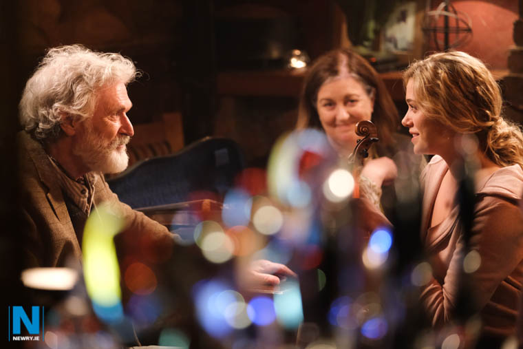 Patrick Bergin, Marion O'Dwyer and Rose Reid three of the stars from There You'll Find Me during filming at Taaffes in Carlingford. Photograph: Columba O'Hare/ Newry.ie