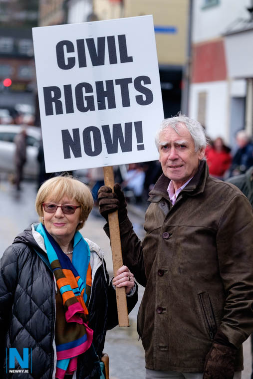 Margo Collins, Secretary and Tom Keane, Chairman of People's Democracy who organised the Newry civil rights parade on 11th of January 1969. The pair are pictured at a commemerative  parade in Newry  to remember the event 50 years ago. Photograph: Columba O'Hare/ Newry.ie