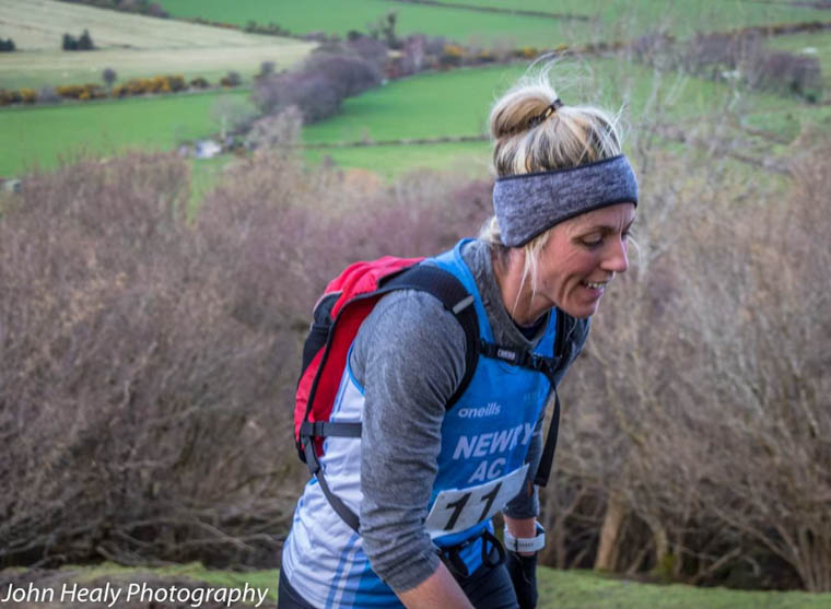 Ciara Coffey on the final ascent at the NIMRA Glenariff Mountain Race