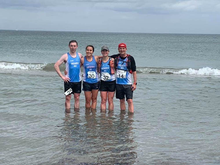 Rory Mulvaney, Sarah Quinn, Esther Dickson & Paul Le Blanc having a well deserved cool down in Ballygally.