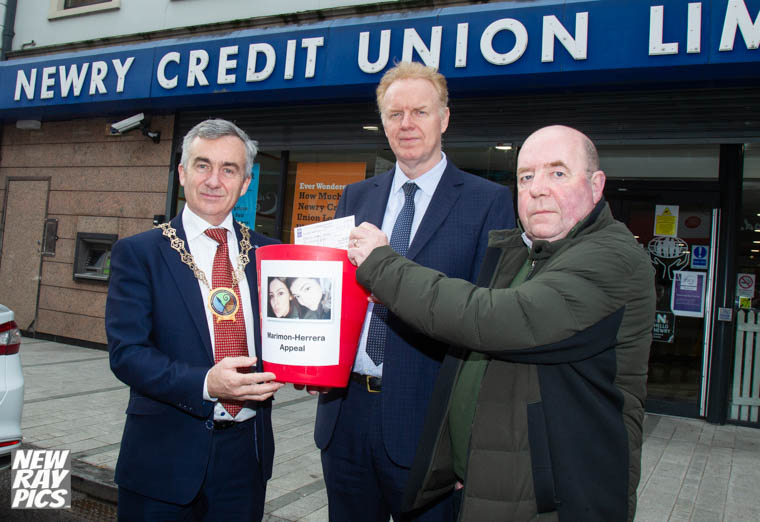 Launching the Newry Fundraising Campaign for the family of Giselle and Allison are from left: Cllr Mark Murnin, Chairman, Newry, Mourne and Down District Council; Brendan Jackson, CEO, Newry Credit Union and Colin Bell, Kevin Bell Repatriation Trust. Photograph: NewRayPics.com
