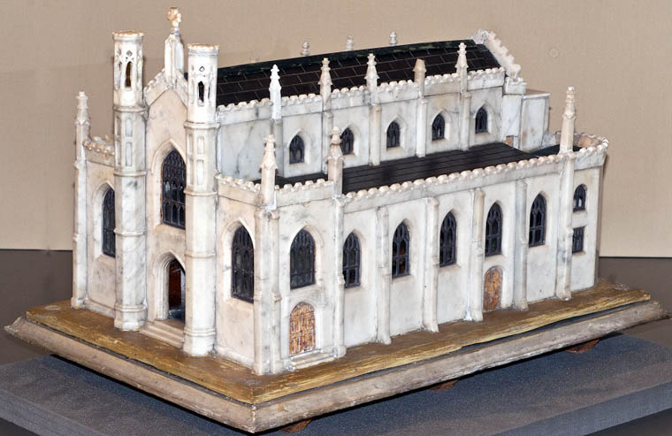 Model of Newry Cathedral on display in Newry and Mourne Museum. Made in the early 20th century, the model shows the Cathedral as it was built in the 1820s before the additions in the later 19th century. Newry and Mourne Museum Collection