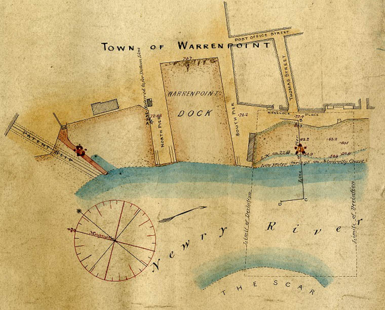 Extract from a map of Warrenpoint Dock relating to a new pier to be built for the Dundalk, Newry and Greenore Railway in the 1860s. Newry and Mourne Museum Collection