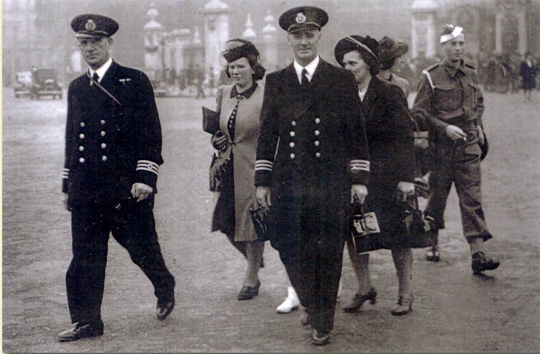 Bernard Murphy (left) and Terry O'Hanlon pictured leaving Buckingham Palace after receiving e their DSE and MBE awards for their service in the Dunkirk rescue. Newry and Mourne Museum Collection