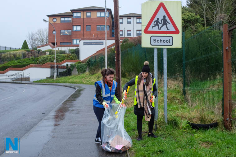 Cleaning up Catherine Street as part of the Newry BID Litter Pick. Photograph: Columba O'Hare/ Newry.ie