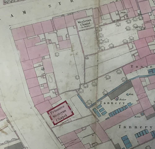 Extract from the Ordnance Survey maps of Newry from the 1860s showing the first Wesleyan Chapel on William Street which was disused by then and the Primitive Wesleyan Chapel on Kilmorey Street. Newry and Mourne Museum Collection
