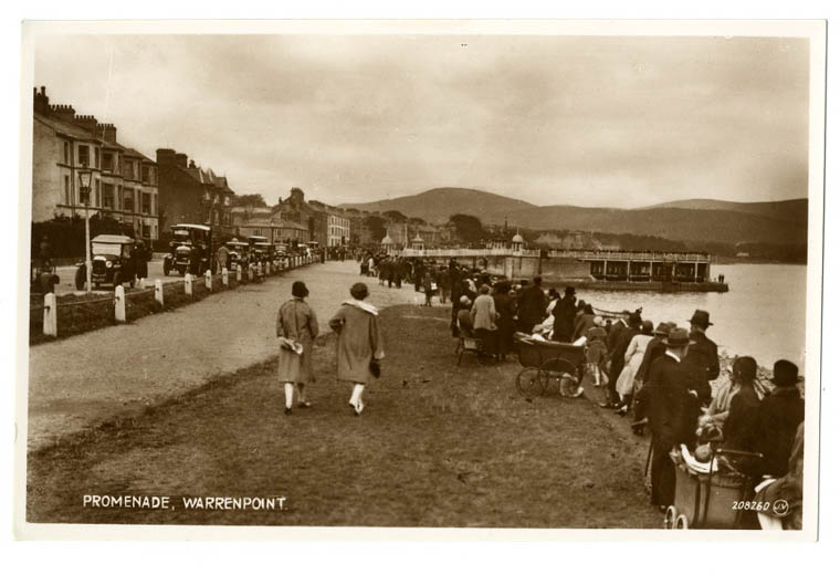 Postcard showing visitors enjoying the Promenade in the 1920s. Newry and Mourne Museum Collection
