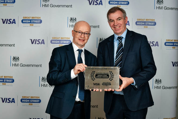 Pictured with the award for Newry City Centre, winner of the Rising Star category for Northern Ireland at the Great British High Street Awards 2019, in proud partnership with Visa are Peter Murray, Newry Business Improvement District Chairperson and Eamonn Connolly.