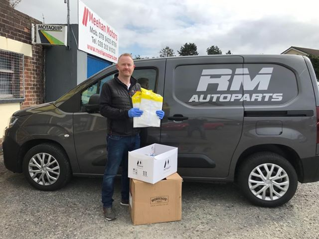 Martin Rice with the protection equipment RM Autoparts donated to Newry Ambulance Station.