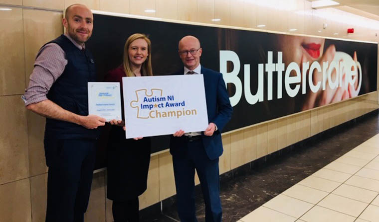 Pictured are Peter Murray, Centre Manager with James Loughran, Operations Manager Butttercrane Shopping Centre with Christine Kearney, Director of Development at Autism NI.