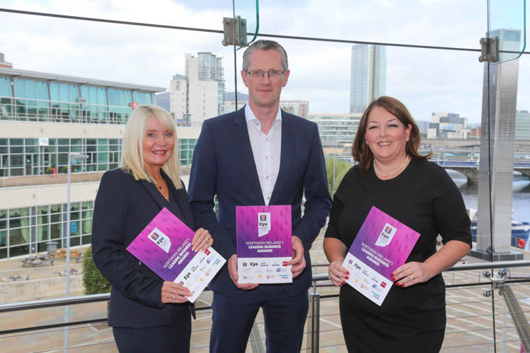 Brenda Buckley, Commercial Director Business Eye, Adrian Moynihan, Head of First Trust Bank and Tina McKenzie, CEO of Grafton Recruitment Ireland and winner of the 2018 Business Personality of the Year Award launch the First Trust Bank Business Eye Awards.