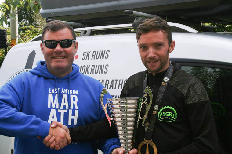 Barry receiving his Centurion Cup from Peter Montgomery at East Antrim Marathon Series
