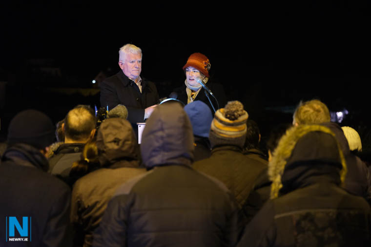 Several hundred people attended the Border Communities Against Brexit protest at Carrickarnon tonight. Andrea Murphy from Our Future Our Choice is pictured speaking while Declan Feron, Border Communities Against Brexit looks on. Photograph: Columba O'Hare/ Newry.ie